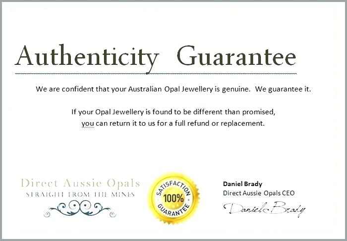 Certificate Of Authenticity Template