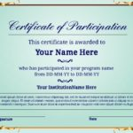 Certificate Of Participation Template Word