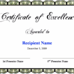 Free Certificate Of Excellence Template