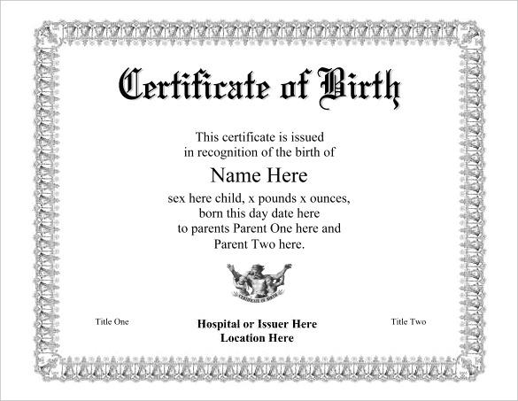Birth Certificate Fake Template