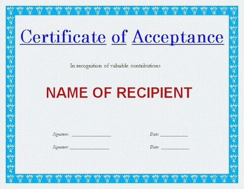 Certificate Of Acceptance Template