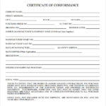 Certificate Of Conformance Template Free
