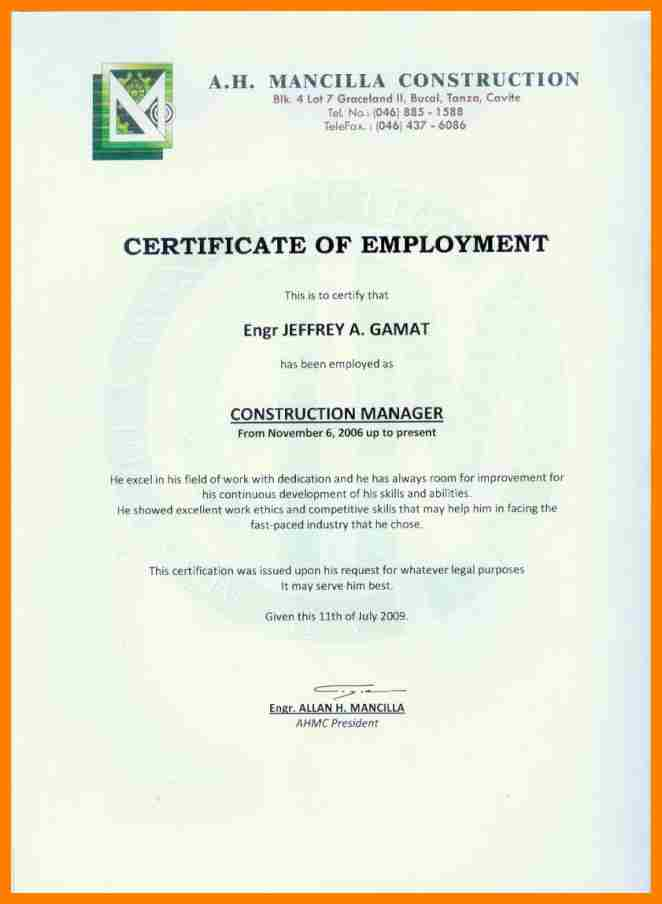 Certificate Of Employment Template