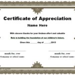 Certificate Of Recognition Word Template