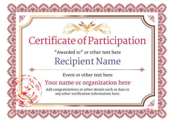 Certification Of Participation Free Template