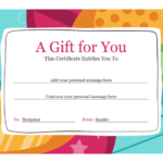 Fillable Gift Certificate Template Free