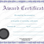 First Place Award Certificate Template