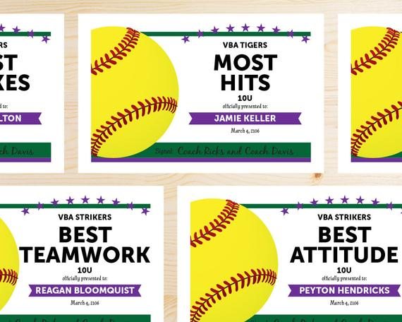 Free Softball Certificate Templates