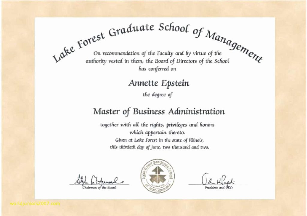 Masters Degree Certificate Template