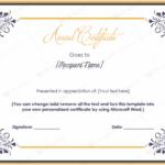 Microsoft Word Award Certificate Template