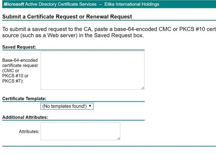No Certificate Templates Could Be Found