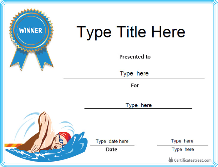 Swimming Certificate Templates Free