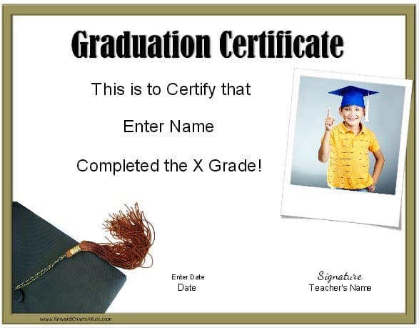 5Th Grade Graduation Certificate Template