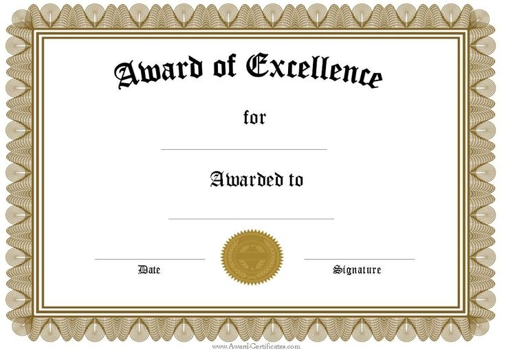 Award Certificate Templates Word 2007