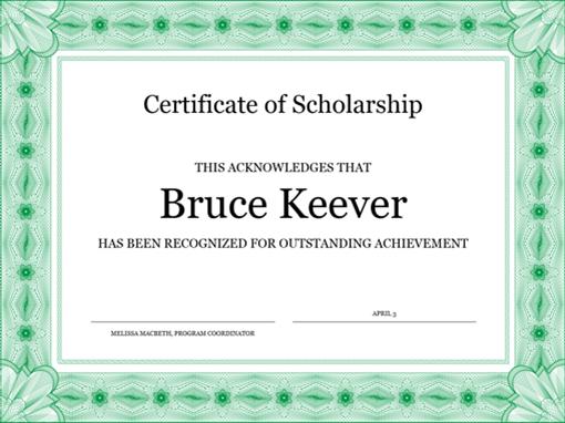 Borderless Certificate Templates