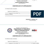 Certificate Of Appearance Template