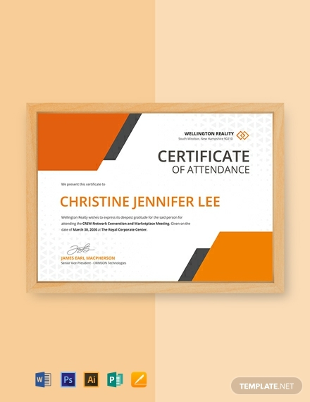 Certificate Of Attendance Conference Template