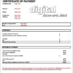 Certificate Of Payment Template