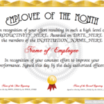 Employee Of The Year Certificate Template Free