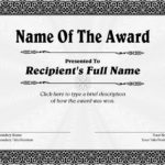 Free Printable Blank Award Certificate Templates
