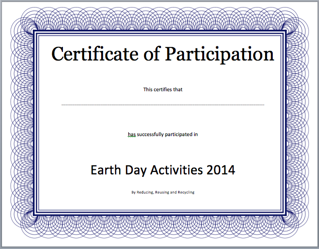 Sample Certificate Of Participation Template