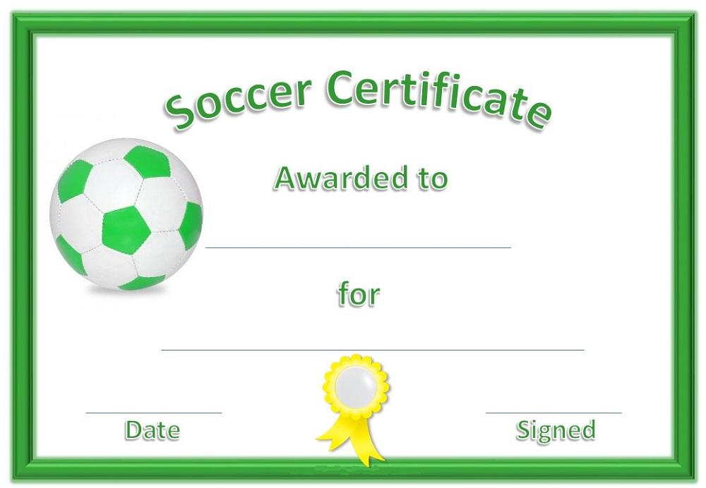 Soccer Certificate Template