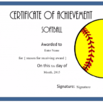 Softball Certificate Templates Free