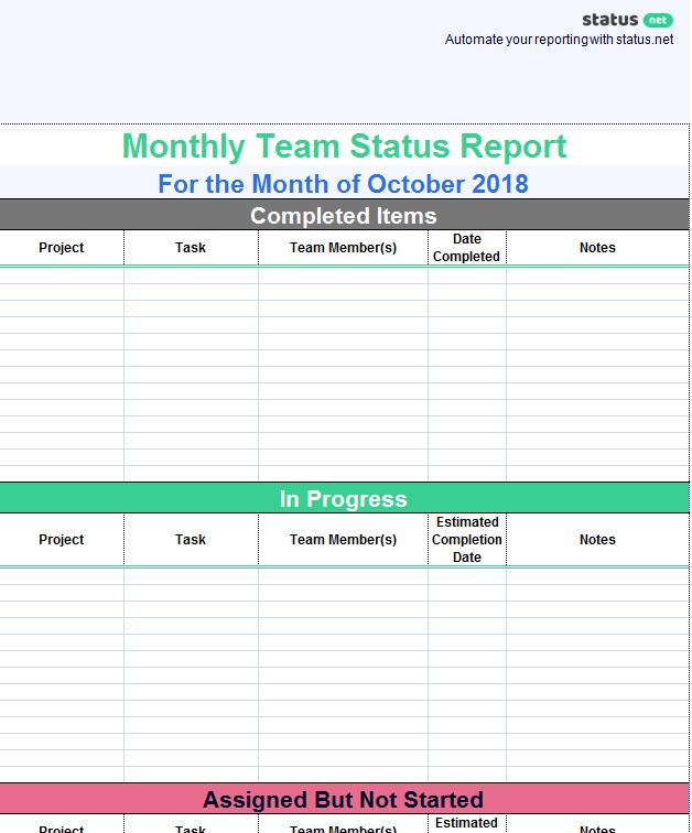 Team Progress Report Template