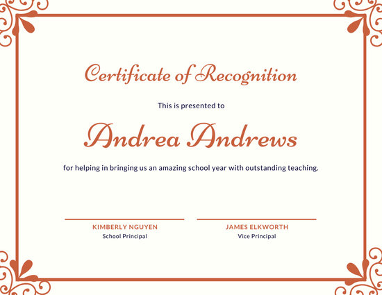 Template For Recognition Certificate