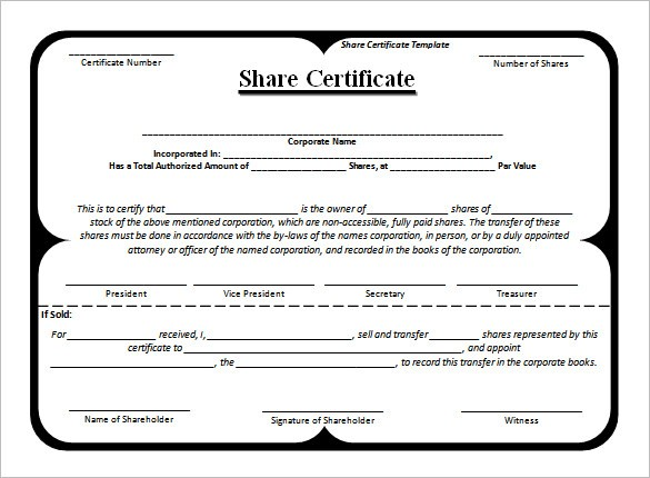 Template Of Share Certificate
