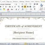 Word Certificate Of Achievement Template