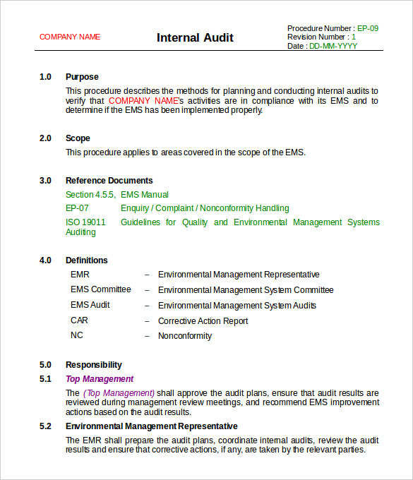 Audit Findings Report Template