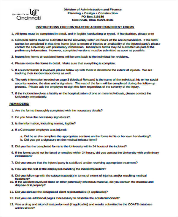 Construction Accident Report Template