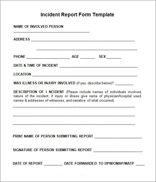 Customer Incident Report Form Template