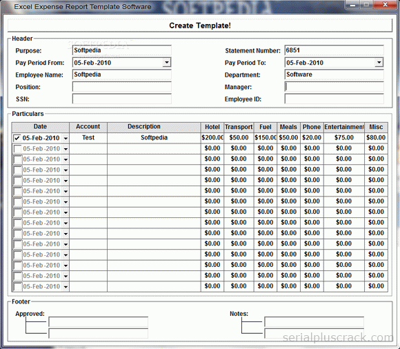 Expense Report Template Excel 2010