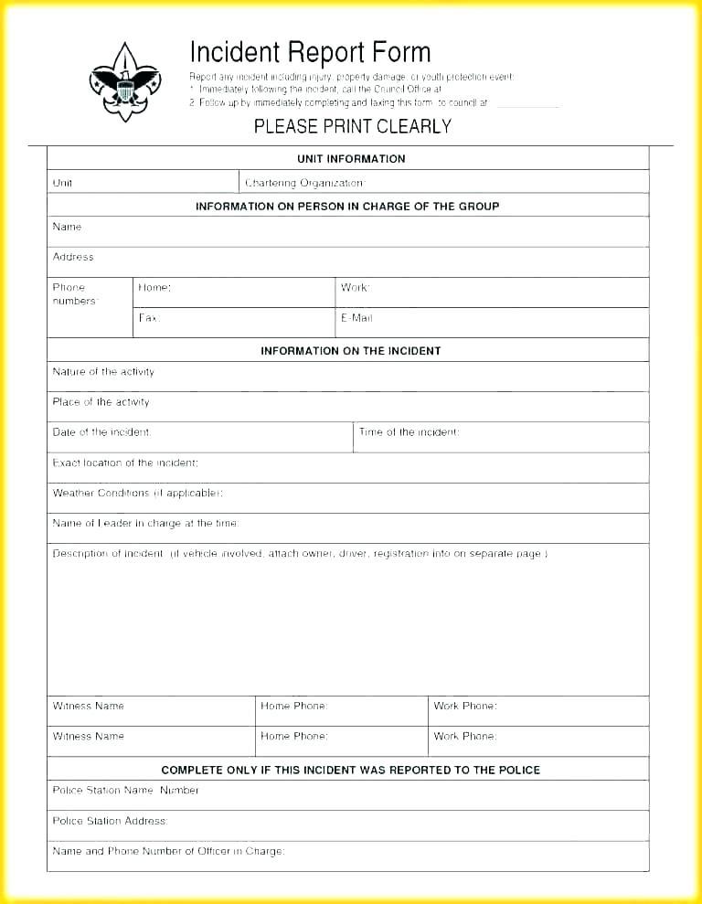 Incident Report Register Template