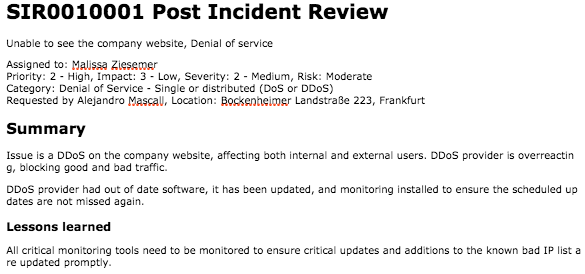 Incident Summary Report Template