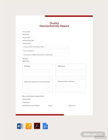 Quality Non Conformance Report Template