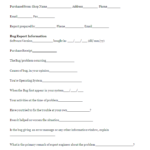Software Problem Report Template