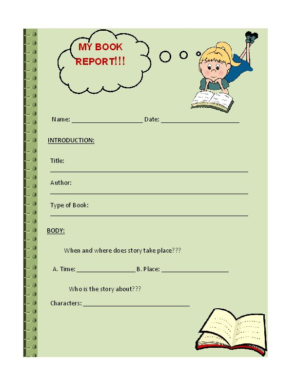 Book Report Template High School