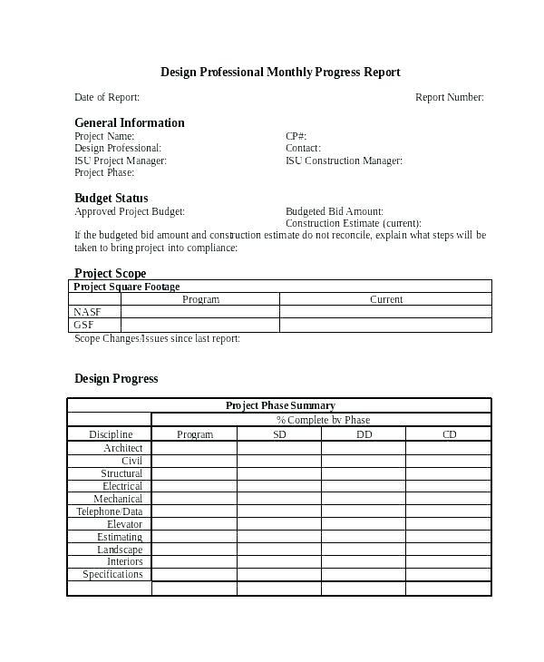 Monthly Progress Report Template