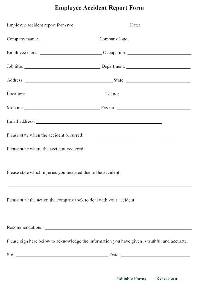Motor Vehicle Accident Report Form Template