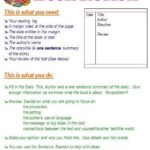One Page Book Report Template