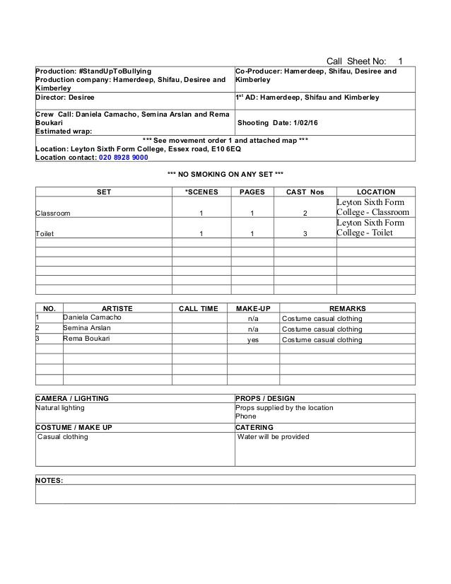 Blank Call Sheet Template