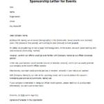 Letter Template Asking for Sponsorship