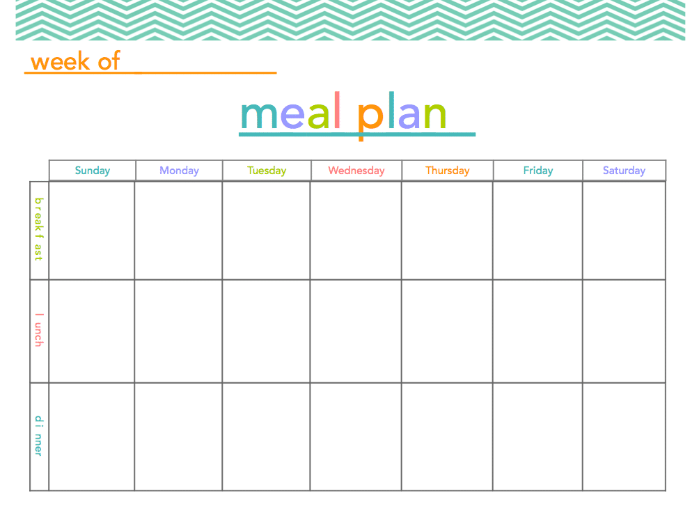 Blank Meal Plan Template