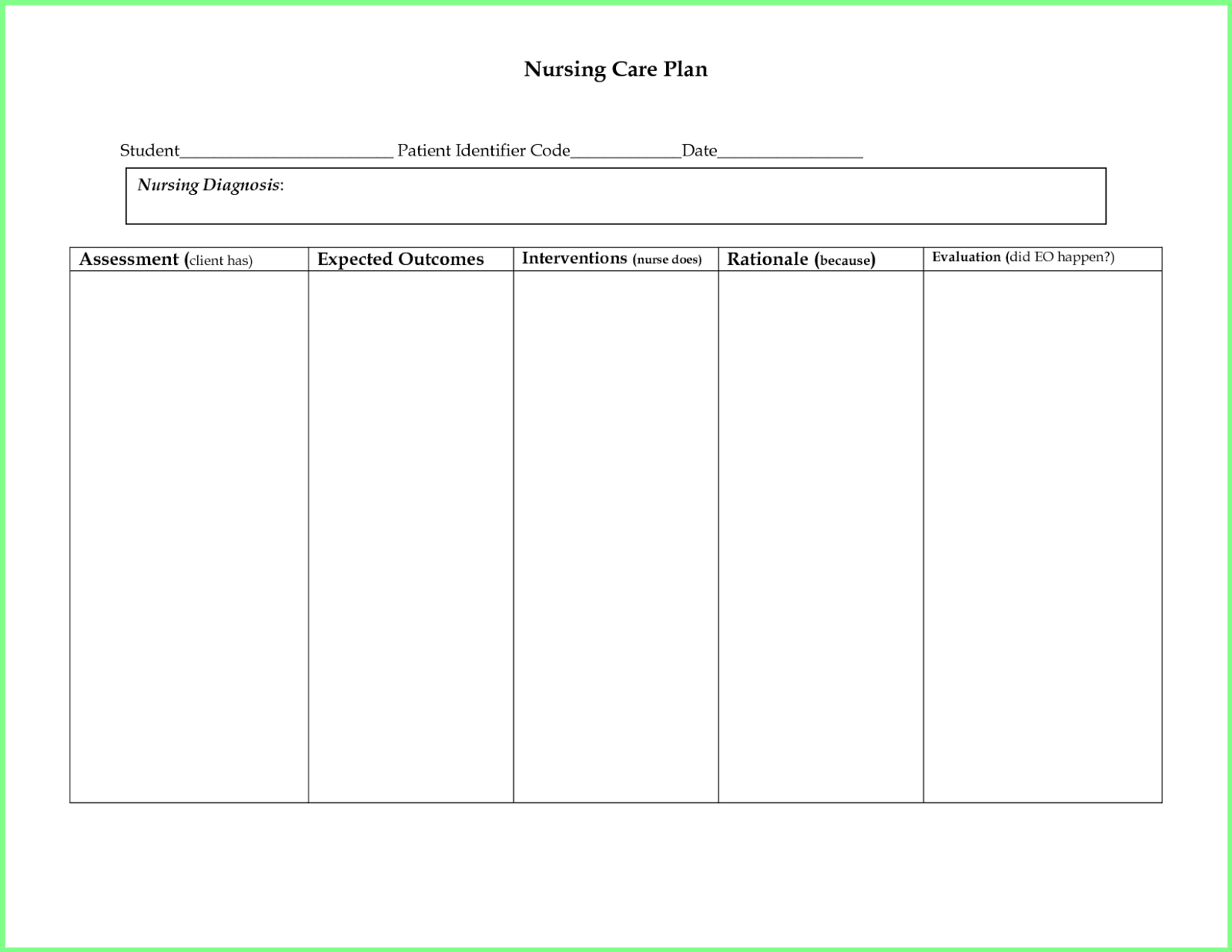 Nursing Care Plan Templates Blank
