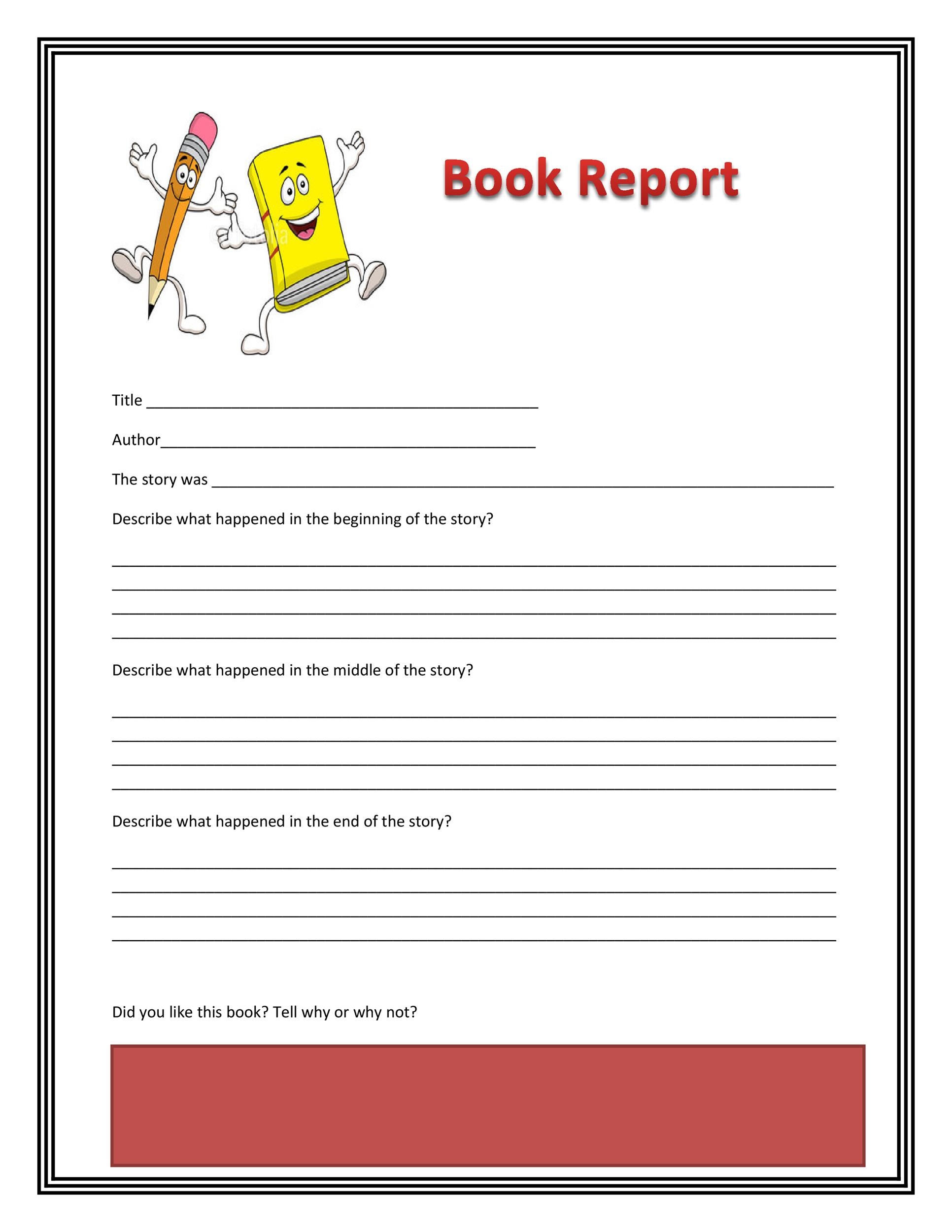 Grade 9 Book Report Template