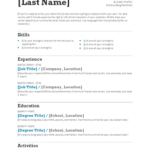 Resume Templates for Job Application