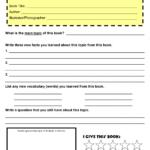 Book Report Template 6th Class